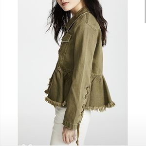 Free People S Willow Denim Military Jacket Green
